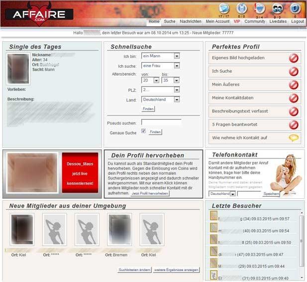 So sieht die Affaire.com Startseite aus