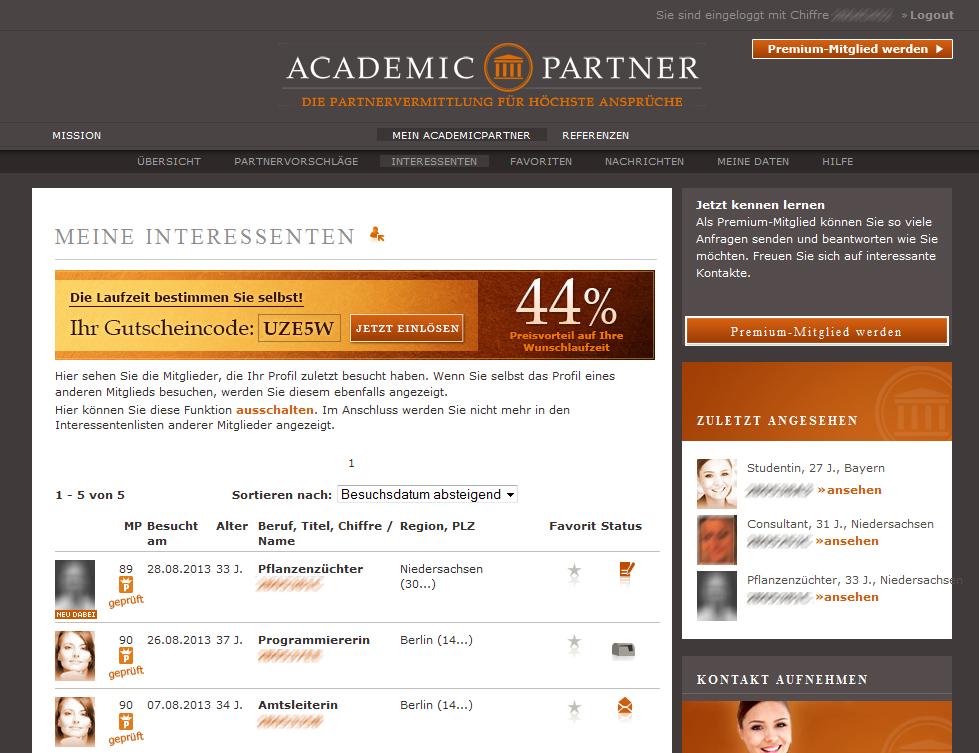 Academic partnervermittlung
