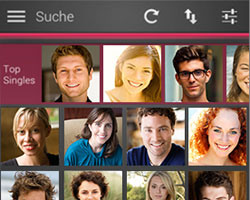 Single.de Mobile Dating App: Startscreen