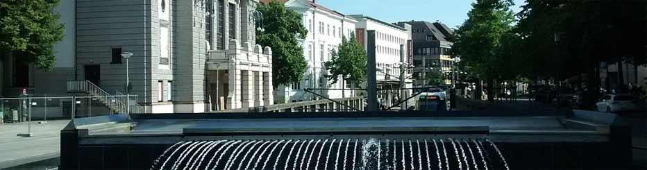 Die Bielefelder Innenstadt mit dem Wassergraben