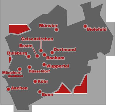 Das Bundesland Nordrhein-Westfalen