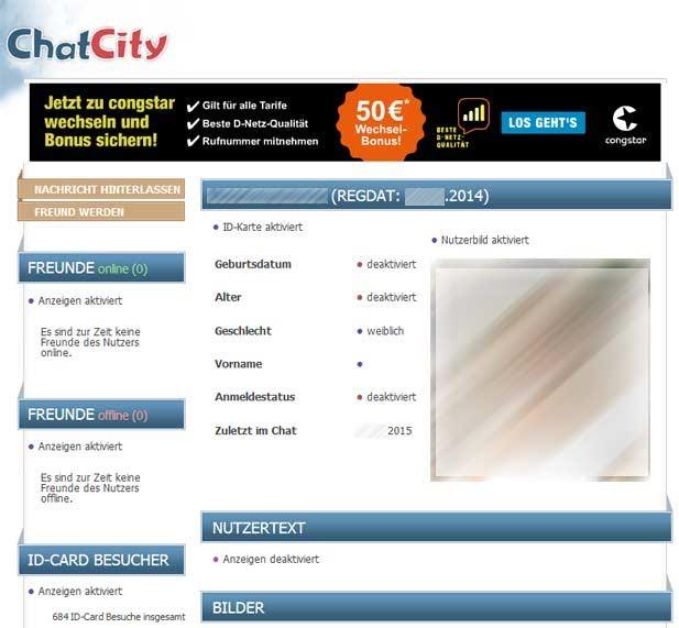 So sieht ein Profil bei ChatCity aus