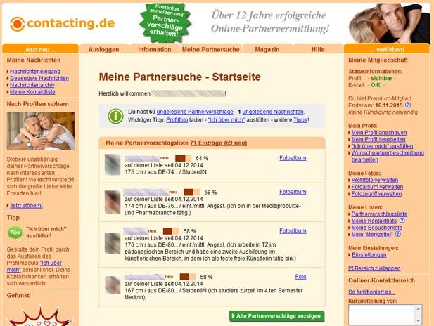 Die etwas textlastige Startseite von contacting.de