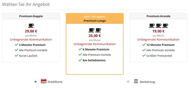 Der DatingCafe Premium-Shop