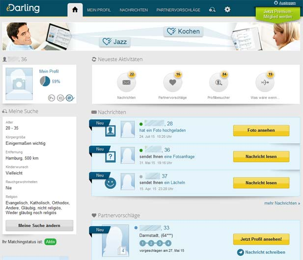 Die Startseite für Mitglieder bei eDarling
