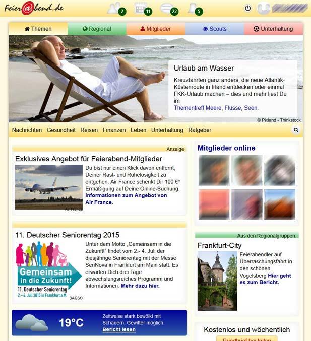 Die Startseite für Mitglieder bei Feierabend.de