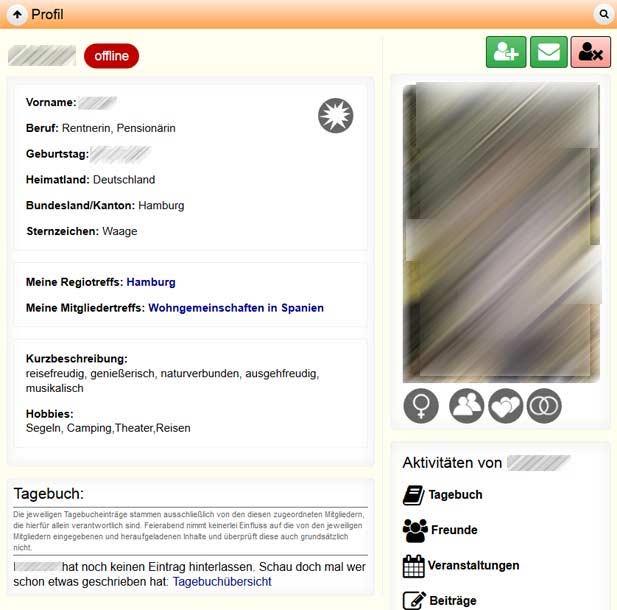 Ein typisches Profil bei Feierabend.de
