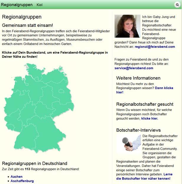 Die Regionalgruppen bei Feierabend.de