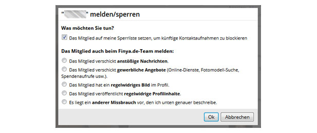 Die Sperr- und Meldefunktion von Finya.de