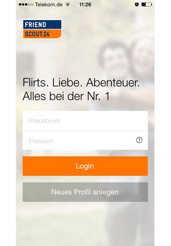 Die mobile FriendScout App - Startscreen (iOS)