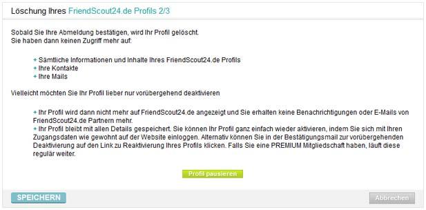 Schritt 5: Einen Grund auswählen - danach kann das FriendScout Profil gelöscht werden