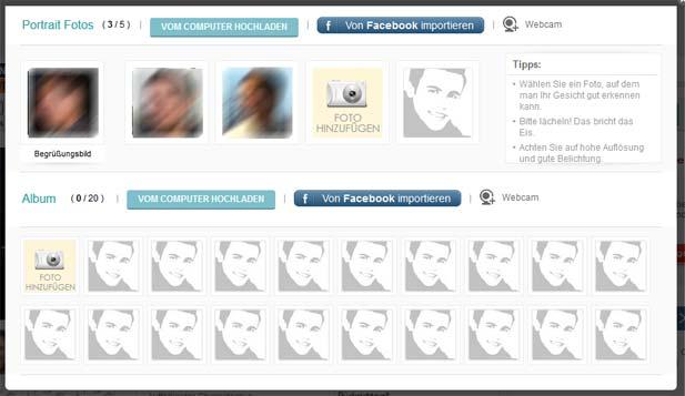 Der aufgeräumte Fotobereich bei FriendScout24