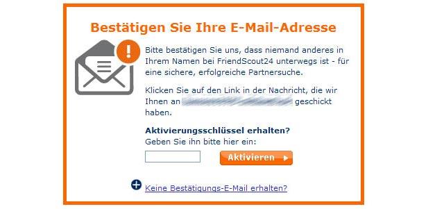 Jedes neue FriendScout24 Mitglied muss seine Mail-Adresse bestätigen