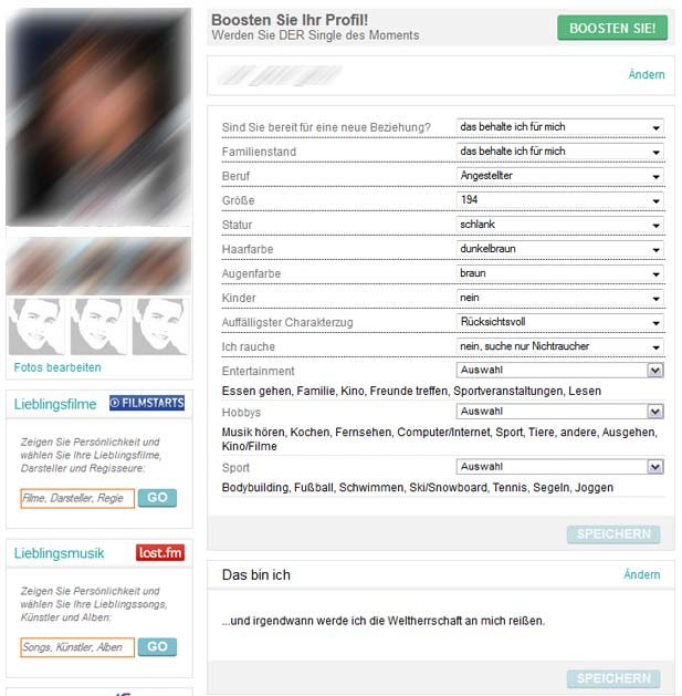 Der FriendScout24 Einstellungsbereich für das eigene Profil