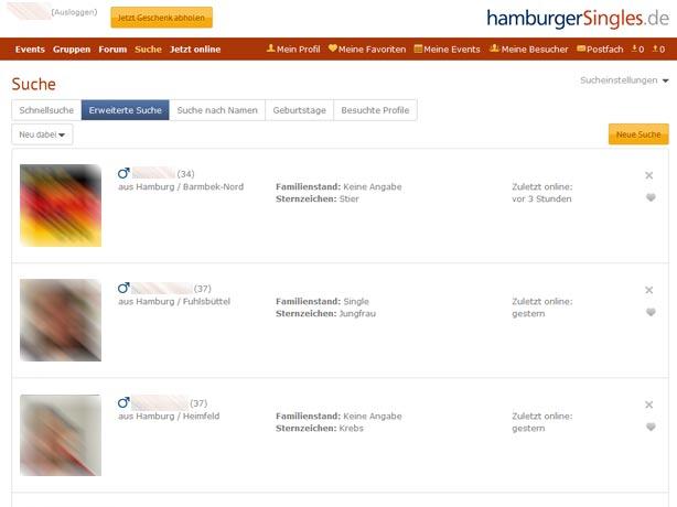 Die übersichtliche Suchergebnisseite von hamburgerSingles