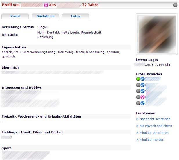 So sieht ein Profil bei Harzflirt aus