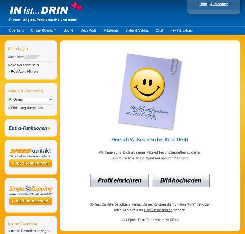 Der Willkommens-Screen bei IN-ist-DRIN