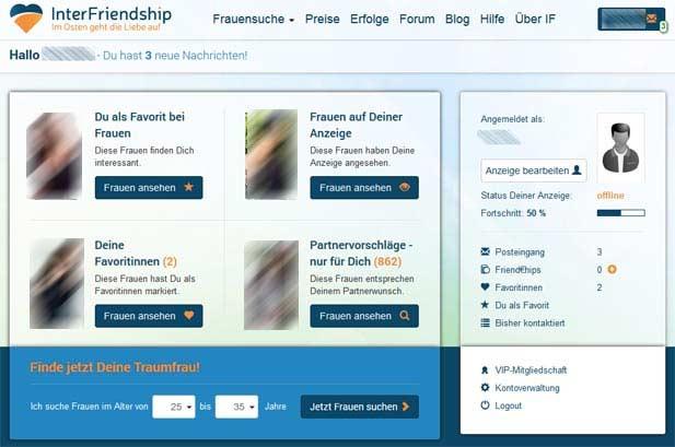 Die InterFriendship Startseite im Mitgliederbereich