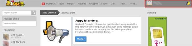 Klicken Sie nun oben rechts auf Ihr Jappy Profil