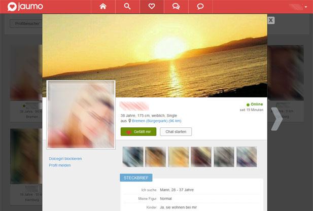So sieht ein ausgefülltes Profil bei Jaumo aus