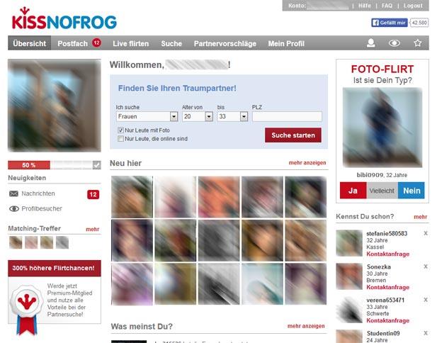 Die farbenfrohe Startseite von KissNoFrog lädt zum Entdecken ein