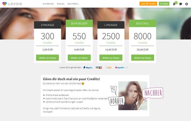 Der LOVOO Credits Shop