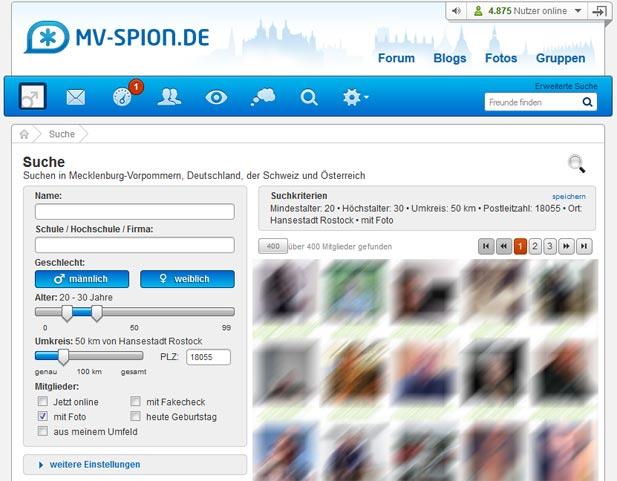 Die übersichtliche Suche bei mv-spion.de