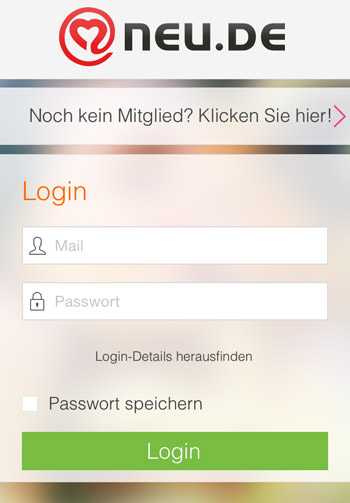 Die mobile NEU.de App - Startscreen (iOS)
