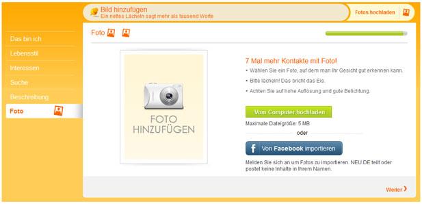 Im letzten Schritt der NEU.de Registrierung sollten Sie ein Bild hochladen