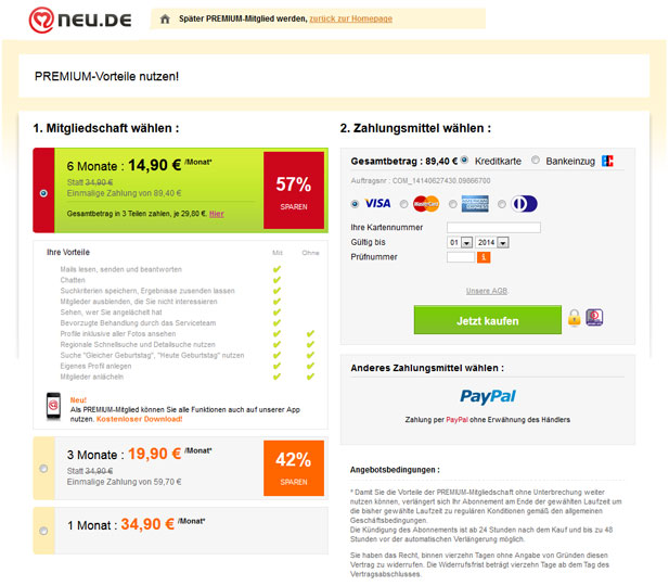Die Premium-Mitgliedschaft ist bei NEU.de fast schon Pflicht