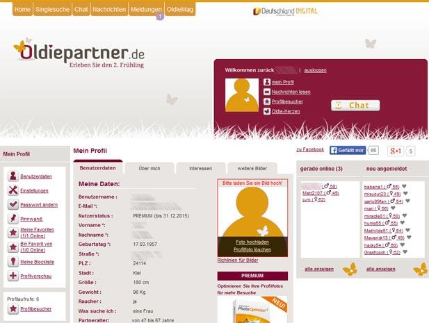 So sieht die Oldiepartner Startseite für Mitglieder aus