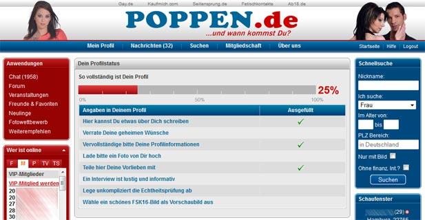 Die Startseite für Mitglieder bei Poppen.de