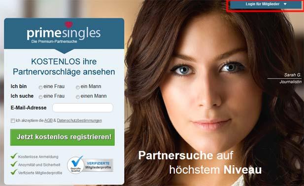 PrimeSingles Mitgliedschaft löschen: Erst einloggen