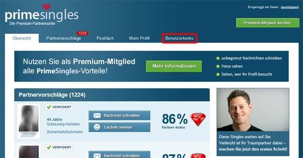 PrimeSingles Mitgliedschaft beenden: Jetzt den Punkt Benutzerkonto auswählen