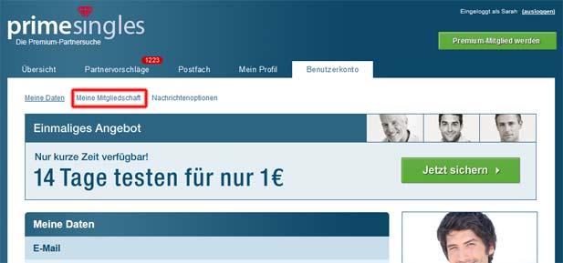 PrimeSingles Account löschen: Meine Mitgliedschaft aufrufen