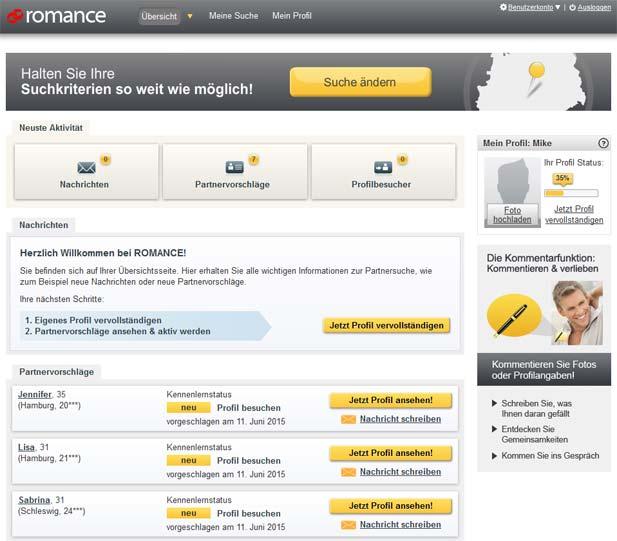 Die ROMANCE.de Startseite direkt nach der Registrierung
