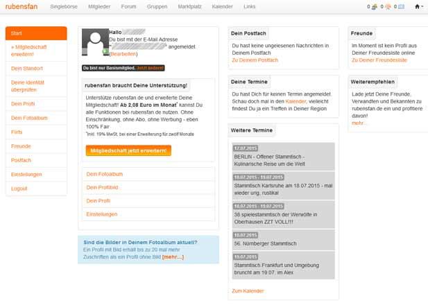 Die Startseite für eingeloggte Mitglieder bei rubensfan.de