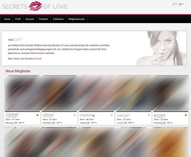 Die SECRETS-OF-LOVE Startseite für eingeloggte Mitglieder