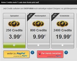 Die SHOPaMAN Credits Pakete