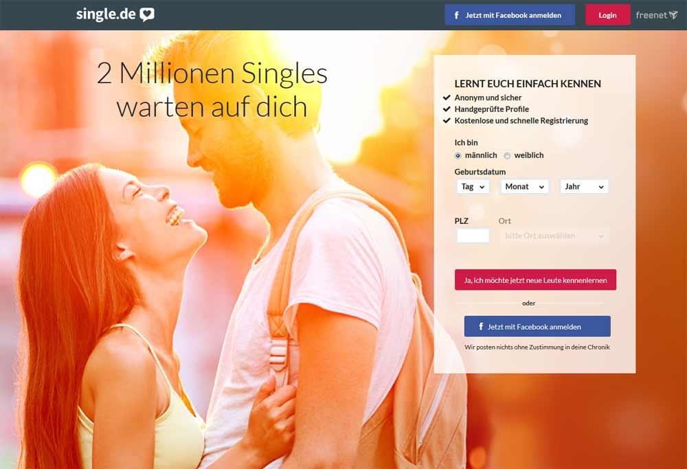 Die neue Startseite von Single.de