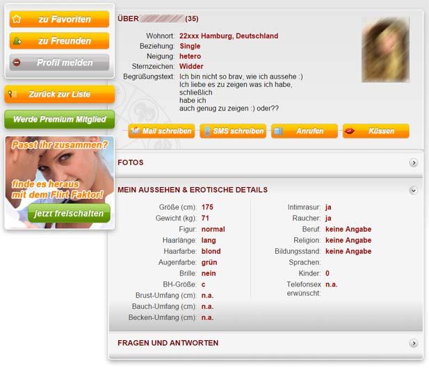 So sieht ein Sexpartnerclub-Profil aus