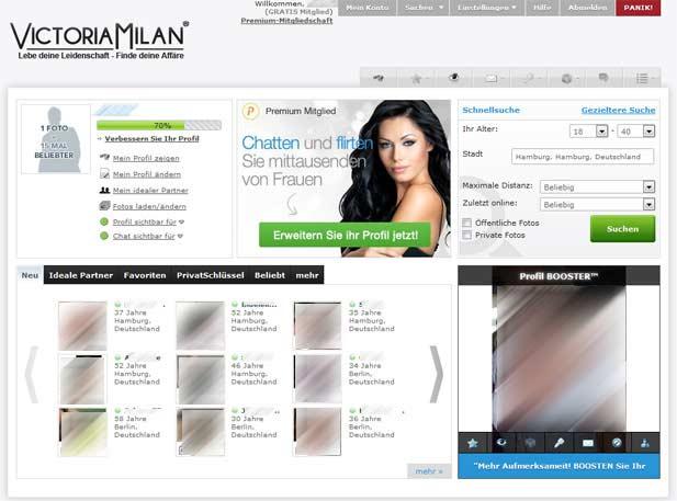 So schaut die Victoria Milan Startseite für Mitglieder aus