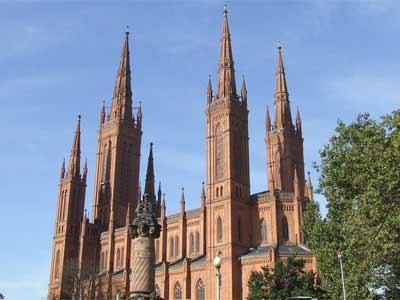 Die Marktkirche in der Innenstadt von Wiesbaden
