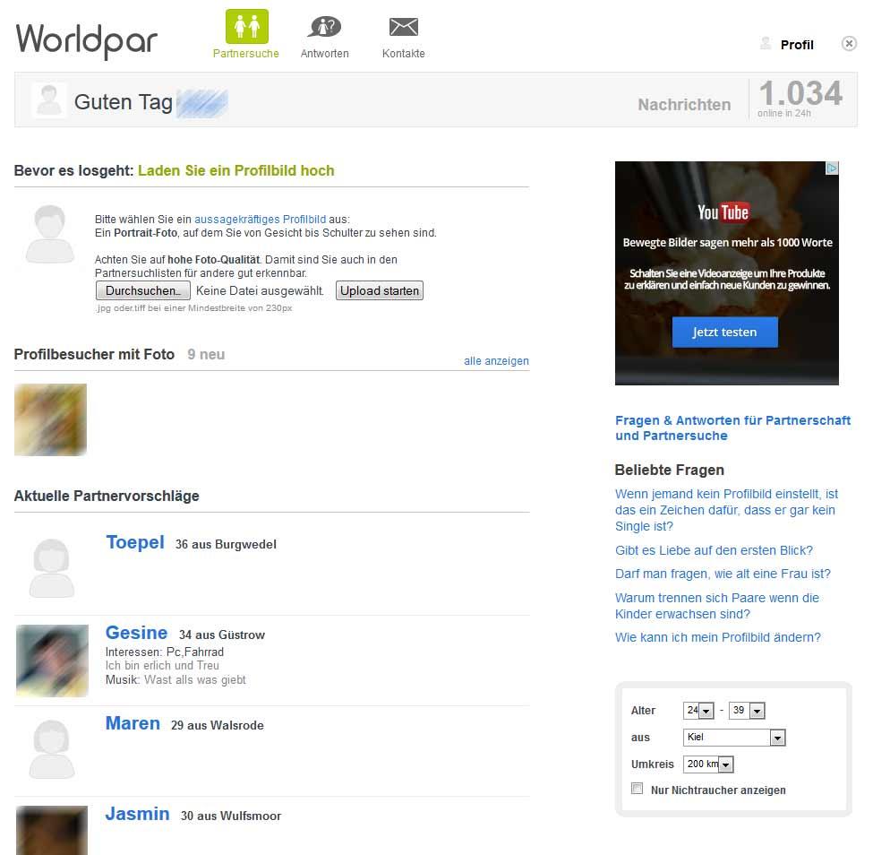 Die Worldpar Startseite für Mitglieder