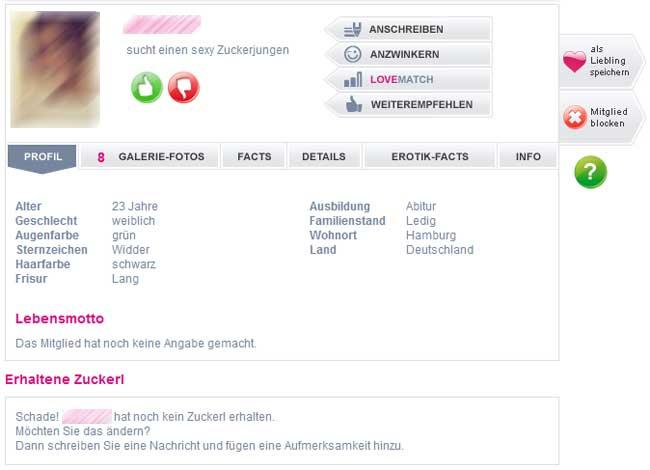 Ein Mitglieder-Profil bei Zuckerjungs